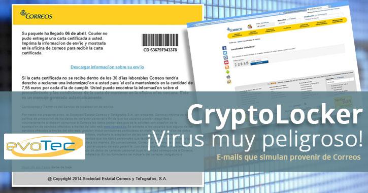 Infecciones masivas de CryptoLocker con e-mails de una falsa empresa 'Correos'
