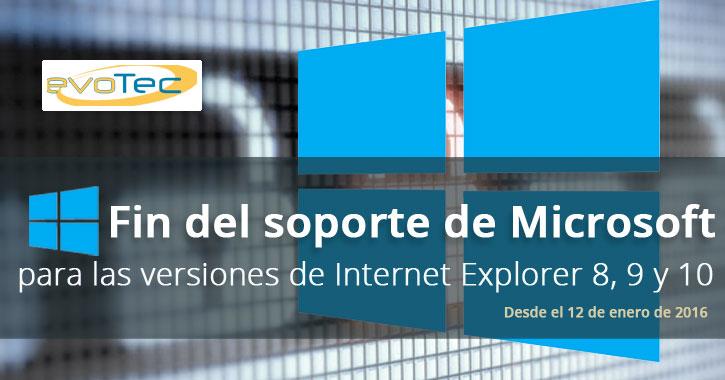 Fin del soporte de Microsoft para las versiones de Internet Explorer 8, 9 y 10